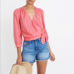 Madewell Wrap Top In Cecilia Pink Red Stripe XS